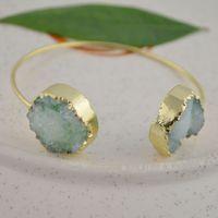 Wholesale Finding Gold Plated Drusy Druzy Beads gem stone Bangle Bracelets