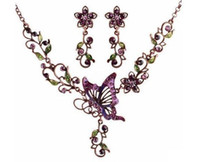 Wholesale Hot Europe Fashion Jewelry Sets Vintage Butterfly Pendant Rhinestone Flowers Elegant Necklace Earrings