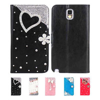 For Samsung PU Synthetic Leather, Plastic, Metal White S5Q Wallet Cover Card Case Flip Bling Skin For Samsung Galaxy Note 3 III N9000 AAADOI