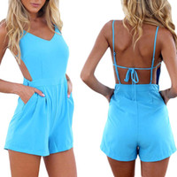 Wholesale S5Q V neck Beach Shorts Playsuit Backless Slim Jumpsuit For Sexy Women Ladies AAADOJ