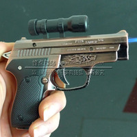 Electronic pistols - Creative Crafts pistol lighter windproof lighter with laser guns mixed color hair