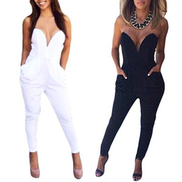 Wholesale S5Q Strapless Jumpsuits Sexy V neck Playsuit BandageTight Waist For Women And Ladies AAADOQ