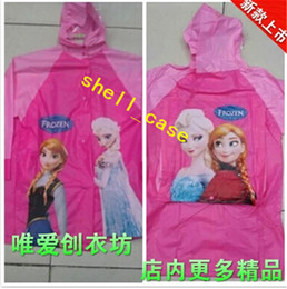 Wholesale 2014 Cheapest Frozen Raincoat Frozen Princess Elsa amp Anna Children Raincoat Frozen Series Waterproof Children Raincoat Free DHL Shipping