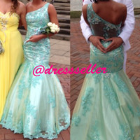 Reference Images One-Shoulder Lace New Arrival Attractive One Shoulder Sheer Back Mermaid Long Aqua Satin Beaded Lace Special Occasion Prom Dresses 2014