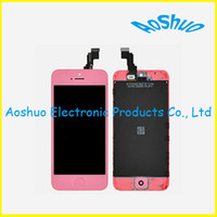 For iPhone LCD Screen Panels yellow, red, pink, light blue, green  for iPhone 5 lcd with touch screen digitizer high quality glass pink replacement