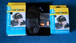 Wholesale english retail package In Business Trip Travel Set Kit Inflatable Neck Air Cushion Pillow sleep Eye Mask Ear Plug earplug