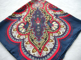 New Charm Purplish Blue Silk Scarf Women Autumn And Winter Hand Roll-Hemmed Silk Twill Infinity Square Shawl For Gift