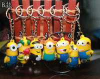 Promotion keychain with rings - New Arrive D Despicable Me Minion Action Figure Keychain Keyring Key Ring Cute With Card Package B style