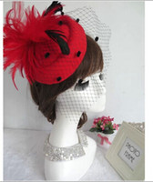 Wholesale Bridal Hats Feather Netting Evening Event Hats Many Color to Choose Cheap In Stock