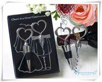 heart bottle opener - HOT New Novelty Great Combination Wedding Favors Heart Bottle Stopper Wine bottle Opener Metal corkscrew luxury packaging
