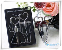 Wholesale Newest freeshipping Novelty Great Combination Wedding Favors Heart Bottle Stopper amp Wine bottle Opener Metal corkscrew luxury packaging