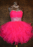 Real Photos Sweetheart Tulle Fuchsia Short Prom Dresses Sweetheart Tulle Bling Bling Crystals Beaded Sequins Corset Homecoming Cocktail Graduation Real Photos 2014-2015