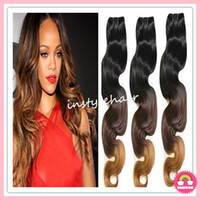 Brazilian Hair Body Wave  HOT Ombre Hair Weave #1b#4#27 Body Wave Weft 100% Virgin Brazilian Remy Human Hair Extensions 12''--30'' 3pcs lot Free Shipping by DHL