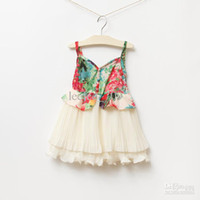 Baby girl kids pleated dress lace dress flower floral tutu d...
