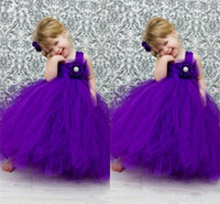 Reference Images Girl Organza 2014 lovely Purple Ball Gown Flower Girls Dresses Square Hand made Flower Bead Pageant Gown Floor Length Organza Free Shipping D280