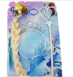 Wholesale 2014 Hot Sell Europe Frozen Elsa Fashion Children Girls Lovely Queen Crown Headwear Children Kids Girls Princess Long Hair Pink Yellow E0279