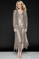 Reference Images V-Neck Chiffon New 2014 Spring Summer Sexy Mother Of Bride Dresses Jacket V-Neck Chiffon Long Sleeve Applique Beads Asymmetrical Gown