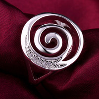 Wholesale New listing Silver fashion Cool Creative spiral circle rings Swarovski Elements crystal jewelry Holiday gift