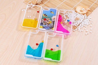 For Apple iPhone Plastic  2014 Hot Dynamic Sea World Colorful Liquid Fish Case For iphone 4 4s 5 5s Transparent Hard Cover with Swimming fish wholesale