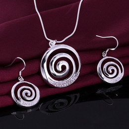 Wholesale New listing Silver fashion cool Creative spiral circle earrings necklace Swarovski Elements crystal jewelry set