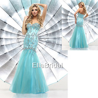 Reference Images Sweetheart Tulle Stunning Trumpet Mermaid Aqua Tulle Sweetheart Sleeveless Crystal Beading New Arrival Prom Dress Occasion Dresses Party 71268