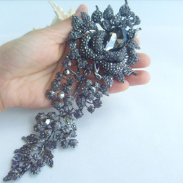 "7.48"" Gorgeous Large Flower Brooch Pin w Black & Gray Rhinestone Crystal, Party Jewelry, Gift - EE04705C5"