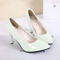 Wholesale Fashion Women Ladies Candy Color Pointed Toe High Heels Court Work Shoes Pumps ex55