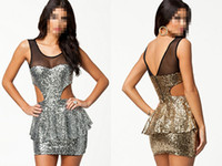 Wear to Work Bodycon Dresses Pencil Dresses Newest Sexy Gold Silver Sequins Sleeveless Mesh Hollw Out Peplum Mini Cocktail Party Summer Dress B4441