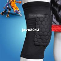 Elbow & Knee Pads polyester fabric Yes Wholesale-407-Honeycomb Foam Pad Crashproof Antislip Basketball Leg Knee Short Sleeve Black M