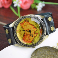 Wholesale New ladies watches fashion simple student s Australia map leather belt quartz watches colors brown and black