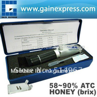 Wholesale New Design Handy Portable Brix Honey Handheld Refractometer Baume Beekeeping Bees with ATC Built in Calibration Knob