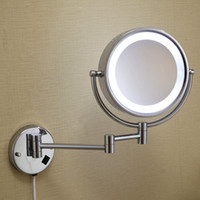 Wholesale Mirror Jewelry Double Faced Wall mounted Bathroom Round Makeup Mirror magnifying LED Light espelho vanity mirror with lights