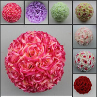 Wholesale New Arrival quot CM Artificial Rose Silk Flower Kissing Balls Christmas Ornaments Birthday Wedding Party Decorations Supplies