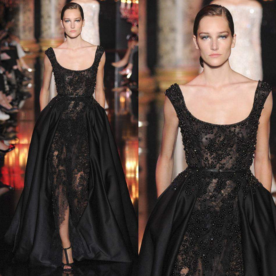 Buy Elie Saab 2015 Sexy Black Lace Satin Evening Gowns Scoop Ruched Ball Gown Appliques Beaded Prom Pageant Party