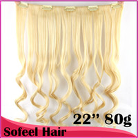 Wholesale 7 colors clip in hair extension curly wavy synthetic hair pc