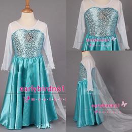 Wholesale 2014 New Arrival Frozen Princess Dresses Blue Elsa Dresses With White Lace Wape Girls New Fashion Frozen Dresses Ready Stock