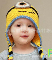 minion hat - 2014 NEW Fashion Baby D Robot Crochet Hats Infant Knitted Caps Fall Autumn Winter Warm Despicable Me Minion Beanie Boys Hat Yellow J0812