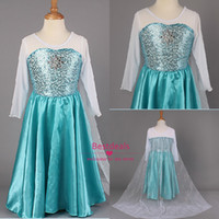 2014 New Frozen Princess Dresses Blue Elsa Dresses With Whit...