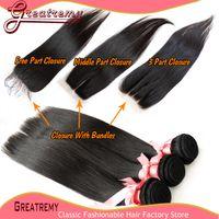 Cheap Brazilian Virgin Remy Human Hair Silky Straight Hair Human Weaves 1pc Top Lace Closure (4x4) With 3pcs Hair Bundles Natural Color Grade 5A