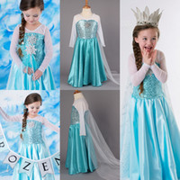 Wholesale 2014 Frozen Princess Dresses Blue Elsa Dresses With White Lace Wape Girls Pageant Dresses Fashion Frozen Dresses Ready Stock Size