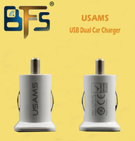 USB   USAMS 3.1A 3100mha USB Dual Car Charger 5V Dual 2 Port car Chargers for iPad iPhone 5 5S iPod iTouch HTC Samsung