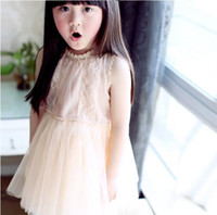 Wholesale Hot Summer Princess Dress Childrens Girls Lace Tulle Dresses Tank Wear Kids Clothes Lace Gauze Dressy Beige Party Dress M0401