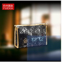 Wholesale 6 colors Portable Transparent Embossed Flowers Lace Zipper Toiletry Makeup Cosmetic Bag LJJC46