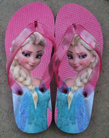 Wholesale Newest Frozen children slipper kids girl Elsa cartoon summer beach sandals flip flop shoes Household shoes size gift ems