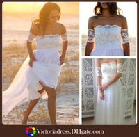 A-Line Reference Images Bateau Beach Boho Dreamy Strapless Garden Beach Wedding Dress Featuring Lace Arm Bands And Soft Tulle Skirt Bridal Gown 2015