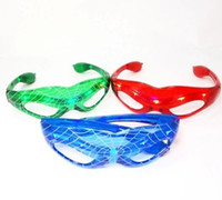 Wholesale Halloween Gift LED Spiderman Glasses LED Flashing Glasses Dance Party Spark Cosplay Slotted Shutter sl slo up Shades Spider man Mask lights