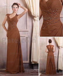 new design A-line chiffon Sexy New Elegant Cap Sleeves Beaded Chiffon Mother of the Bride Dresses plus size brown color v-neck dresses