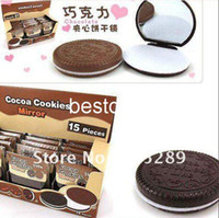 Wholesale Creative cute Chocolate sandwiched make up Mirror portable pocket cosmetic mirror comb Fashion Gift