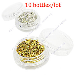 Wholesale 10 bottles New mm Golden amp Silver Metallic Caviar Beads Studs Nail Art Glitter Nail Decoration
