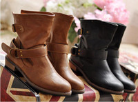Wholesale women Leather Boots female autumn and winter fashion women s martin black boots flat vintage buckle motorcycle boots ladies warm shoes
